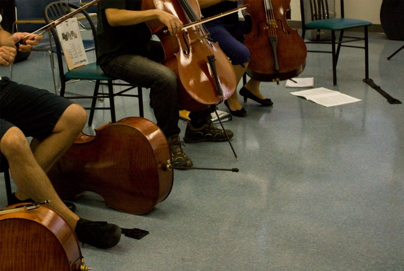 Suzuki book 1 cello Teacher Training class at SOSI - Laurier University, Waterloo Ontario - August 11 to 18.  Four of nine students are pictured here - all wonderful people from The 'States and Canada.  Great playing too, after class...