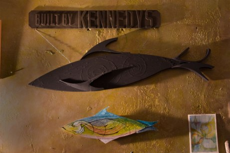 inheritance from two families on my mother's side: A proud sign from Kennedy Foundry of Owen Sound, hanging on the wall of Circle Bar Ladies' Hosiery factory, also in Owen Sound, owned and operated by my mom & aunt's grandparents, Walter and Catherine Keebler.