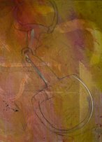 detail of 4'x4' painting in progress:  D-ring snaffle bit