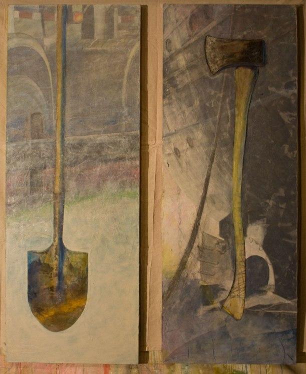"""diptych Shovel/Axe.  29""""w x 78""""h (x 2)"""