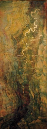 "Beaver River valley, from What Makes Us, 2004. 18"" w x 48"", sold."