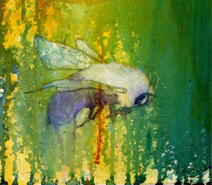 """""""Bee"""", acrylic and graphite on paper, 1999. 6x8"""". Original is sold, but I am in the process of making prints. Will post on art page when they're available"""