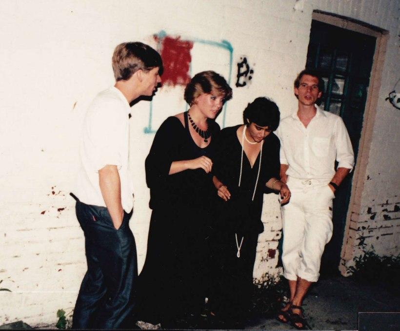 Our Band, Catchpenny, somewhere in Toronto, sometime in the 1980s.  Aruna Handa, Frank Klaassen, Michael Klaassen & me