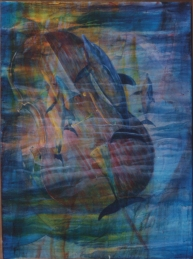 Hologram, from a series of paintings about music from 2001. I've always wanted to create a third image that exists in front of the painting, depending on the light & time of day. It worked in this one. Impossible to photograph, tho.