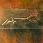 """Chalk Horse, 2014; 48""""sq, acrylic and mixed media on canvas.  I wrote two blogs about the process of this painting called """"Letting Go"""".  Not sold; $1,850.00"""