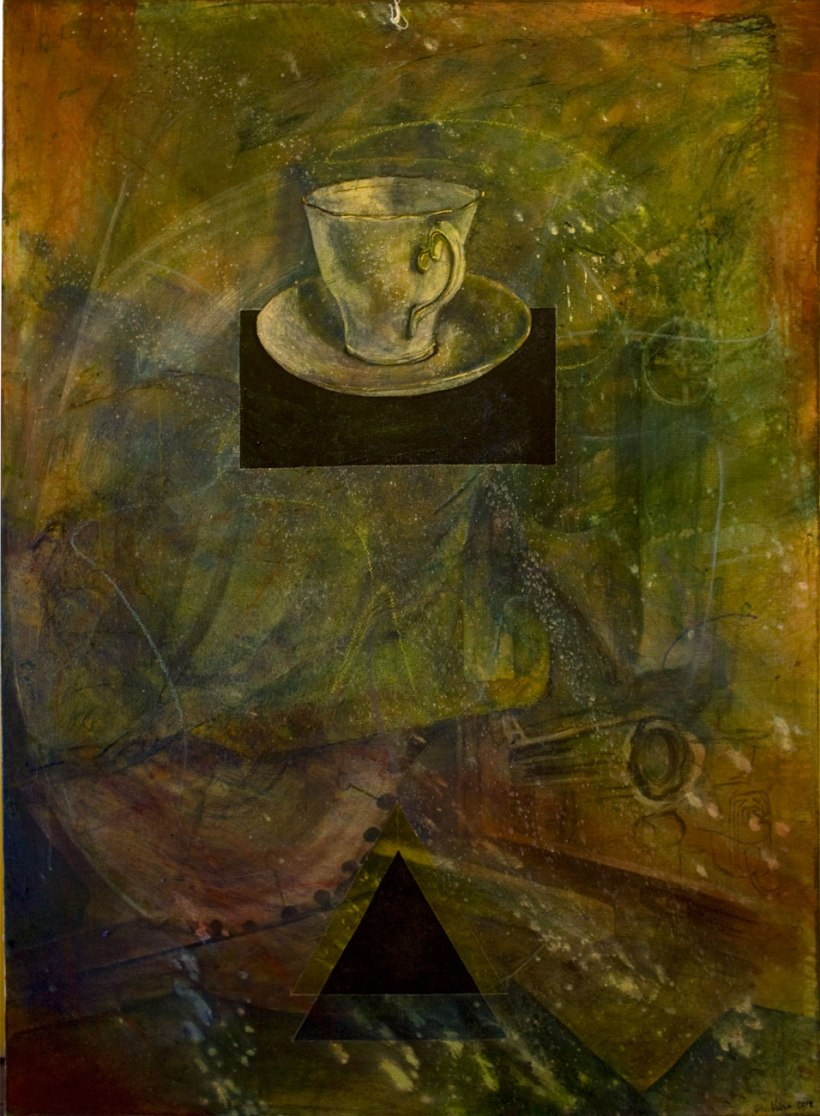 """Teacup"", 2014, 38"" x 51"", mixed media (acrylic) on canvas. $1,250.00"