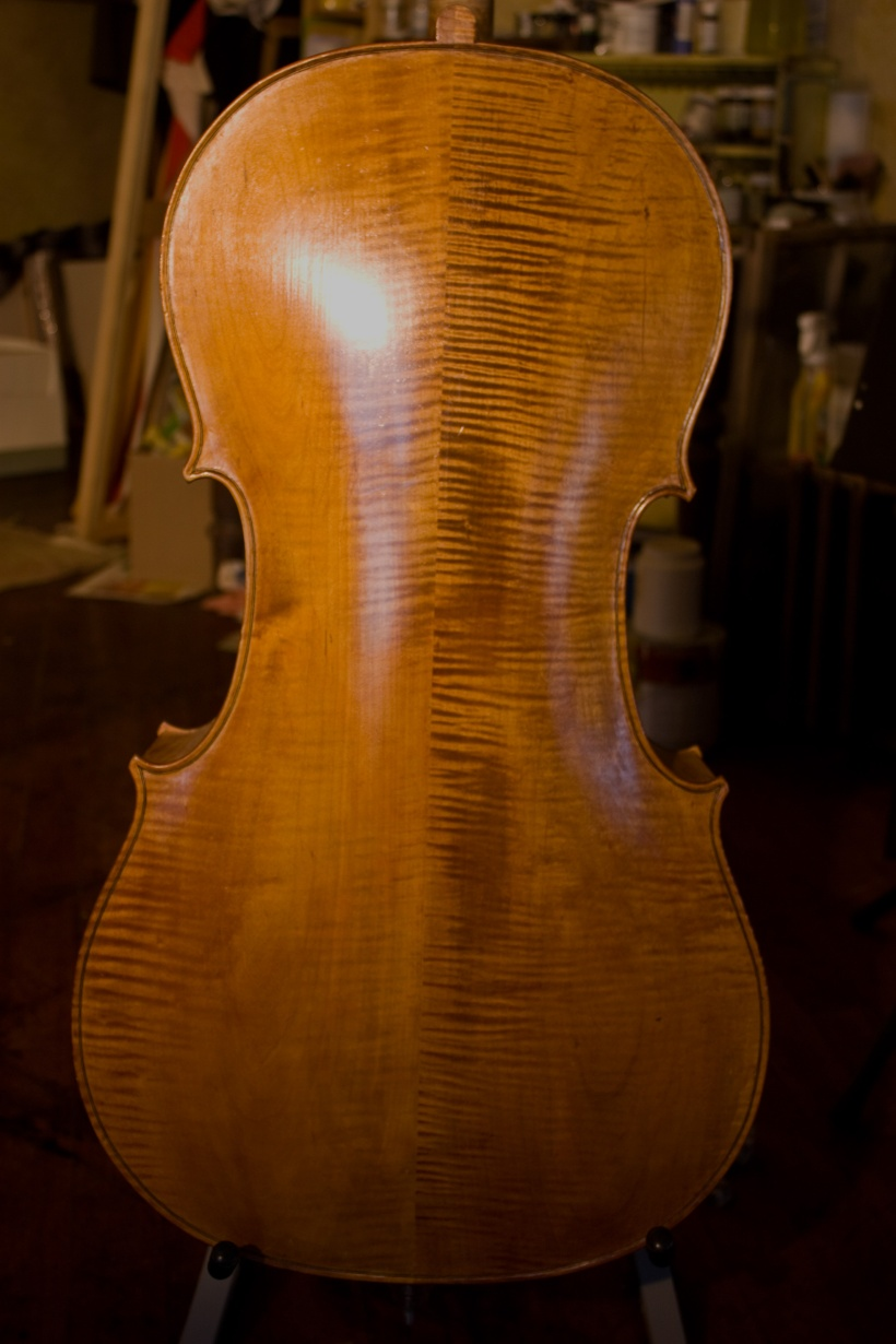 A strange sensation, looking at this photo of my cello.  It's like looking at my own back.