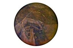 """""""Round I: Pilgrimage"""", 36"""", mixed media on canvas"""