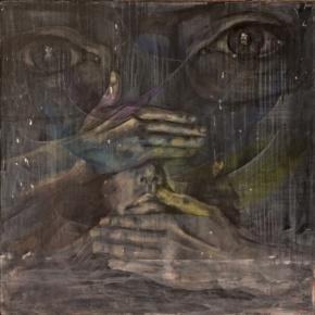 'Black'. 2014, 36x36, acrylic on dyed cotton.