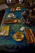 "functional art - cobalt blue runner; sienna napkins - 5' .5"" long by 24"" wide, back flannel back.  $289.00 plus shipping"
