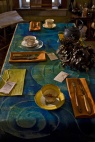 "functional art - cobalt blue runner; sienna napkins - 5' .5"" long by 24"" wide, back flannel back. $289.00 plus shipping"