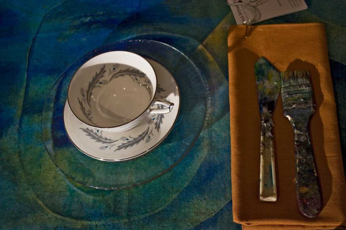 close with teacup and class dish