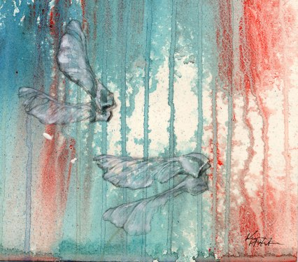 "6x6"", mixed media on paper, 1999 (sold)"