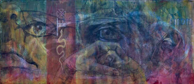 """From #Selfie (2014). 'Masks' - 84"""" x 36""""; mixed media on canvas; $3,250.00"""