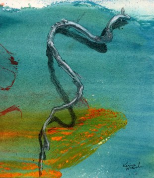 """""""Snakeroot"""", 6x6"""", graphite and acrylic on paper, 1999. Sold"""
