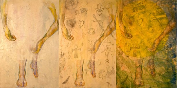 art history:  a painting I did in 1994, stripped of all but the figure.  Symbols added at an art opening in 2014 by people who signed up online and / or came to the event.  The third image is further work on the piece, which becomes more Chagall-like every time I go into it.  Everything about Chagall - his thinking and his work - have charmed me since I studied him at Uni 30 years ago.  The pieces needs to be re-stretched, and finished, but it is the first of many rich and random acts of art.  Who knows when that show will be - 20 years from now?  I'm looking forward to it.