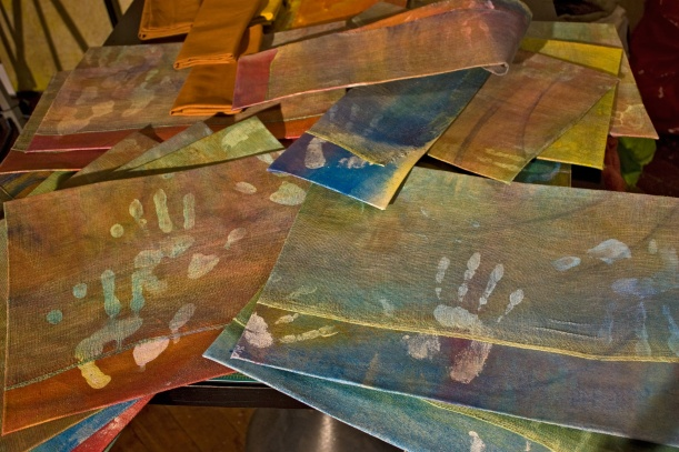 """Set of 12 """"Hands"""" placemats measured, cut & ironed, ready for finishing edges"""