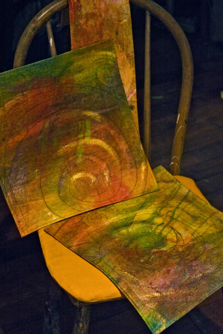 """two (of set of four) spiral squares with felt backing.  13.5"""" x 12"""""""