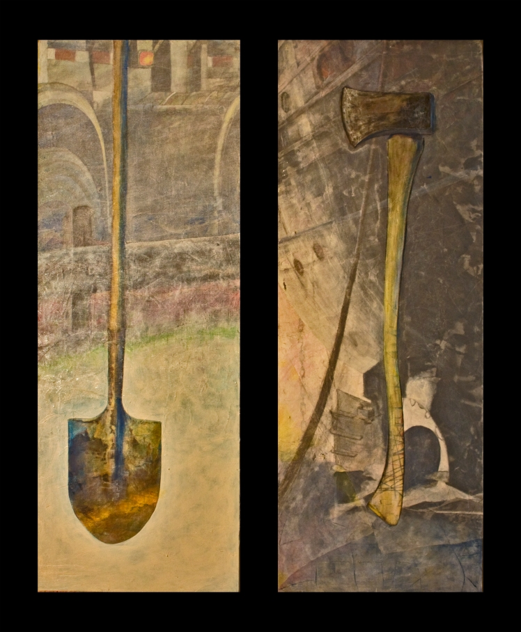 "Shovel / Axe (diptych), 2014. 2 x 28"" x 82"", acrylic and fabric on canvas. $3,250.00 together. I can sell them separately (though that would be a shame), for $1,750.00 each"
