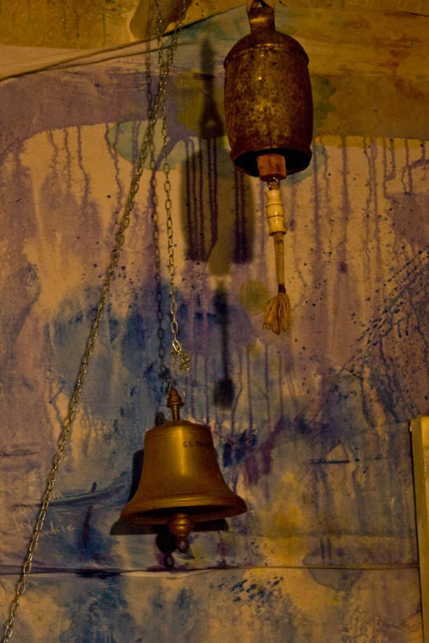 ships bell for the first painting (loud!!!), tibetan bell for the second. I'm photographing all the church bells in town that I can find for the rest. 'All the bells that still can ring...'