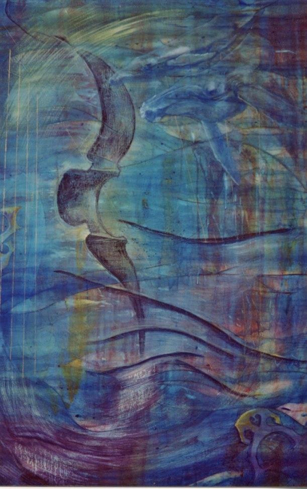 """Waves"", 2001, 36"" x 54"", mixed media acrylic on canvas. $850.00"