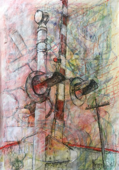 Pavement V: Three Crosses, 2019 conte, acrylic and vine charcoal on paper, machine sewn lowest edge.
