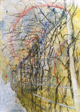 Pavement IV: Fence 2019 acrylic, oil pastel and vine charcoal on paper. Machine sewn lower edge.