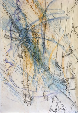 Pavement II: Gate. oil pastel, acrylic and vine charcoal on paper. Machine sewn bottom edge. Improvisation meets structure, and a narrative emerges.