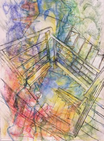 Pavement III: Stairs 2019, conte, oil pastel, acrylic and vine charcoal on paper. Machine sewn edge.